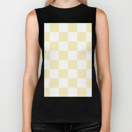 Large Checkered - White and Blond Yellow Biker Tank
