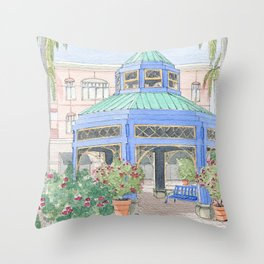 Mizner Park Boca Raton, Florida Watercolor Illustration/ Boca Raton Mizner Park Walking Street Art Throw Pillow