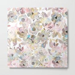 Elegant whimsical grey watercolor roses Metal Print
