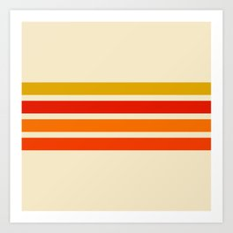 Abstract Minimal Retro Stripes 70s Style - Nagatane Art Print