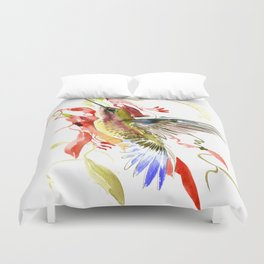 Flying Hummingbird and red tropical foliage Duvet Cover