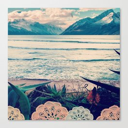 Tropical Island Moutain Collage Canvas Print