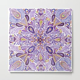 Gloomy purple mandala pattern Metal Print