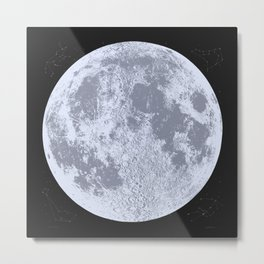 Blue Full Moon Print, by Christy Nyboer Metal Print