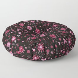 Pink and black floral with wild roses Floor Pillow