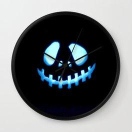 halloween Jack O Lantern Blue Wall Clock