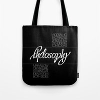 philosophy Tote Bags featuring Philosophy by John Langdon