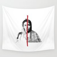 women Wall Tapestries featuring women by srhgrdnr