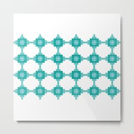 Blue Fretwork Metal Print