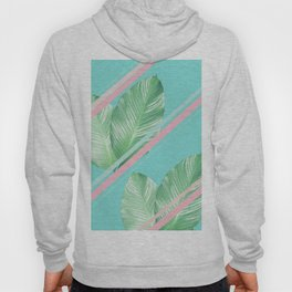 Tropical Summer Leaves Stripes - Cali Vibes #1 #tropical #decor #art #society6 Hoody