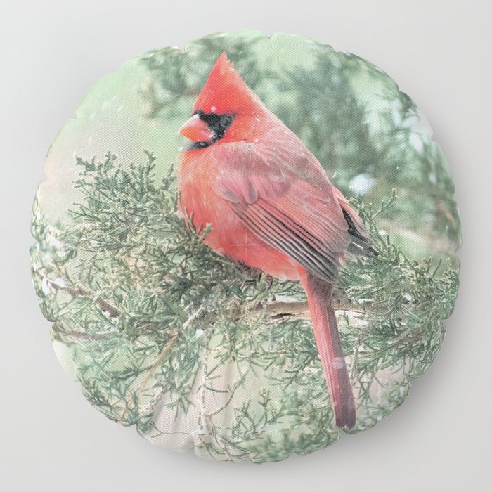 Christmas Bird (Northern Cardinal) Floor Pillow