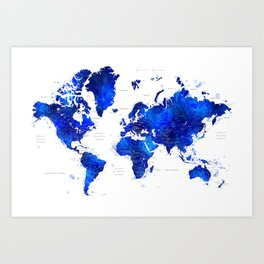 """Navy blue and cobalt blue watercolor world map with cities labelled, """"Carlynn"""" Art Print"""