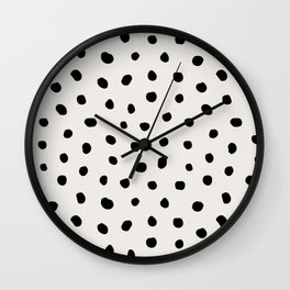 Modern Polka Dots Black on Light Gray Wall Clock
