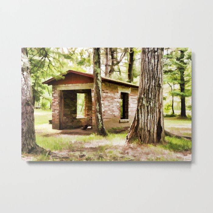 Abandoned brick building in the woods Metal Print