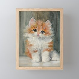 Long Haired Ginger Kitten Painting Framed Mini Art Print