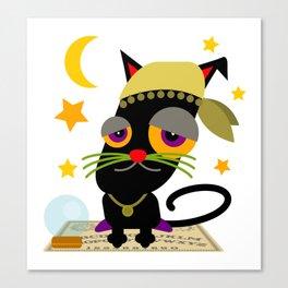 Halloween Black Cat Cartoon Canvas Print