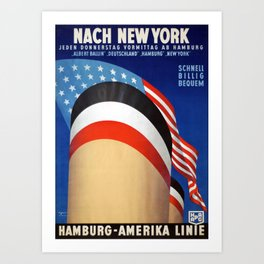 Nach New York, Martitime - Vintage Travel Poster Art Print