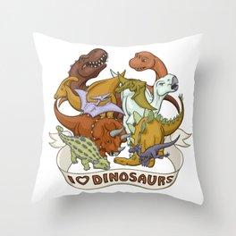 I Heart Dinosaurs Throw Pillow
