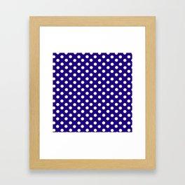 Polka Dot Party in Blue and White Framed Art Print
