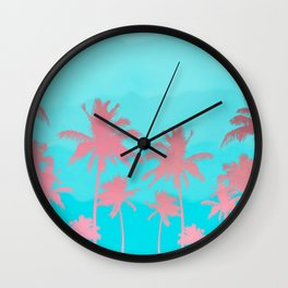 Pink coconut trees Wall Clock