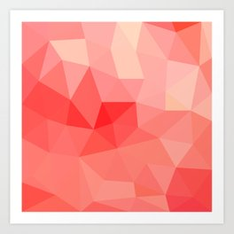 Shades of Coral Low Poly Design Art Print