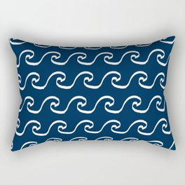 Nautical waves cute simple minimal basic ocean pattern navy nursery gender nuetral Rectangular Pillow