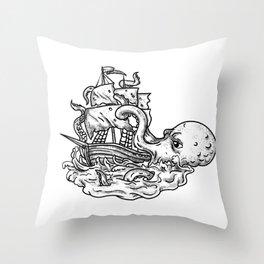 Kraken Attacking Ship Tattoo Grayscale Throw Pillow