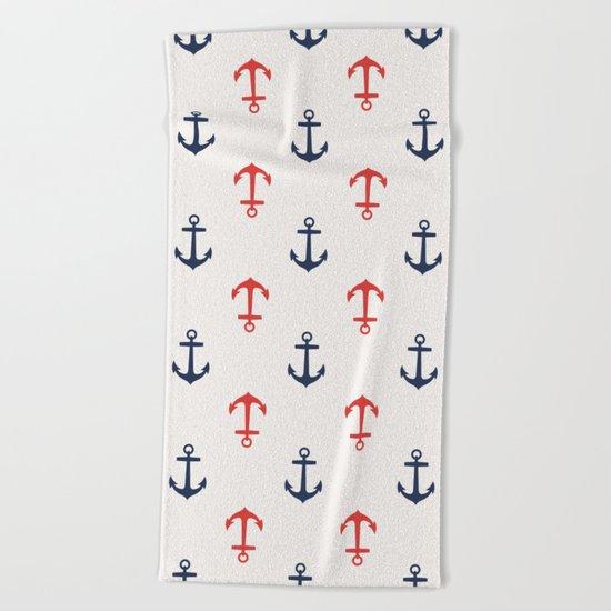 Nautical anchor pattern Beach Towel