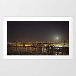 Super Moon over the San Francisco Bay Bridge Art Print