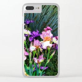 SPRING GARDEN & PURPLE-WHITE-YELLOW IRIS Clear iPhone Case