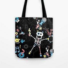 Crazy MonkeyTeddyBears with Skeleton - Pastel on Black Pattern Tote Bag