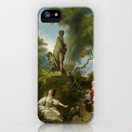"""Jean-Honoré Fragonard """"Les Progrès de l'amour - Le rendez-vous (The Progress of Love)"""" iPhone Case"""