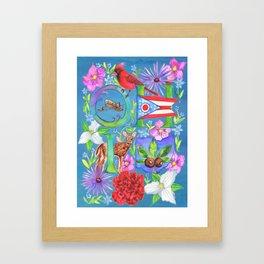 Ohio Collage- Blue Framed Art Print