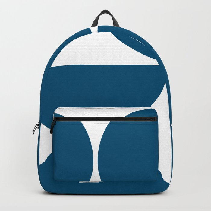 Mid Century Modern Blue Square Backpack
