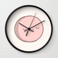 macaron Wall Clocks featuring Macaron by kim vervuurt