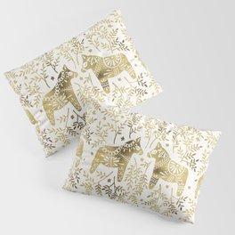 Swedish Dala Horses – Gold Palette Pillow Sham