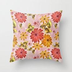 Pink, orange flowers. Throw Pillow