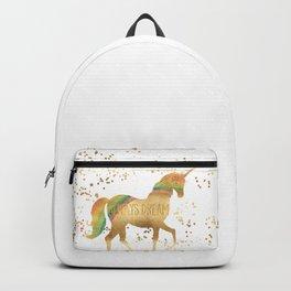 Gold Rainbow Dream Unicorn Backpack