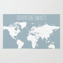 Adventure Awaits World Map in Slate Blue Rug