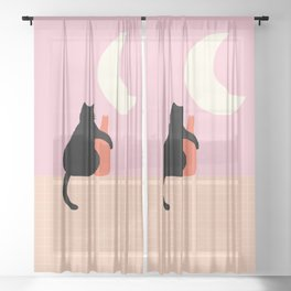 Abstraction_CAT_DRUNK_NIGHT_Minimalism_001 Sheer Curtain
