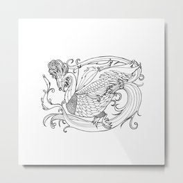 Simurgh from the Bestiary Coloring Book Metal Print
