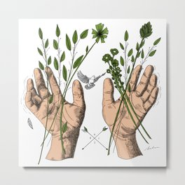 Hands and nature Metal Print