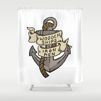 ships Shower Curtains featuring WOODEN SHIPS & IRON MEN by ANOMIC DESIGNS