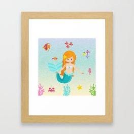 Little Girl Mermaid Framed Art Print