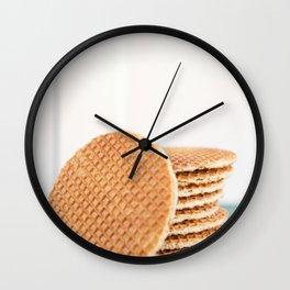 Stack of Dutch stroopwafel cookies Wall Clock