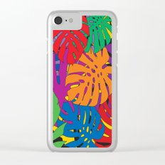 Monstera leaves in Pop Art Clear iPhone Case