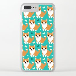Cute corgi illustration on turquoise background pattern Clear iPhone Case