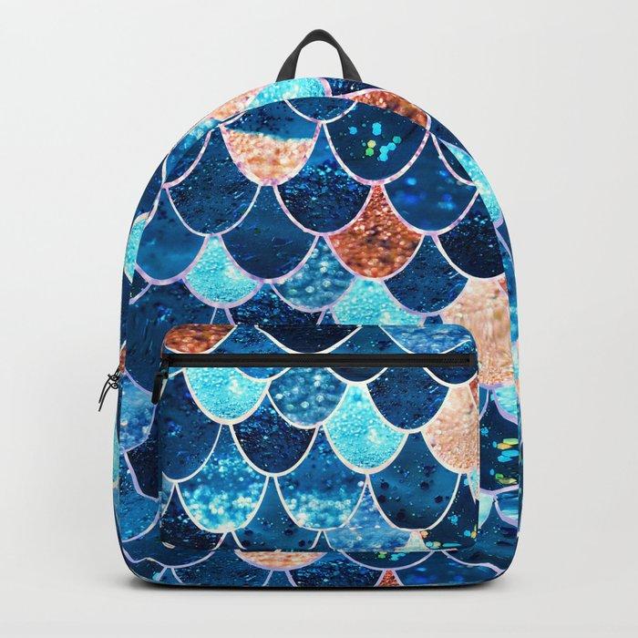 REALLY MERMAID BLUE & GOLD Backpack