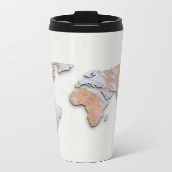 Rose Gold Marble Map - RoseGold World II Metal Travel Mug