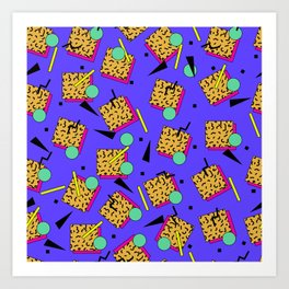 Seamless colorful pattern in retro style Art Print